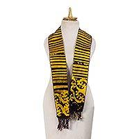 Cotton batik scarf, 'Gye Nyame' - Hand Crafted 100% Cotton Batik Scarf with Fringe from Ghana