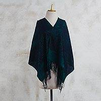 Batik cotton shawl, 'Good Thing' - Majestically Green Batik Dyed 100% Cotton Shawl with Fringe