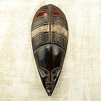 African wood mask, 'Yoreh Drop' - Drop Shape African Wood Mask Brown from Ghana