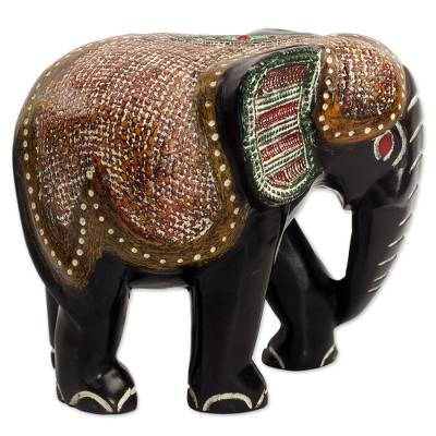 Wood statuette, 'Exotic Elephant' - Hand Carved Sese Wood Elephant Featuring Ceremonial Design