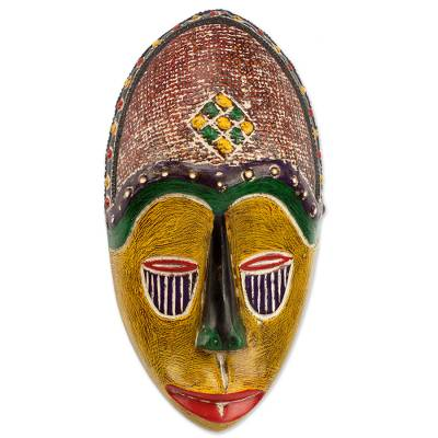 Artisan Crafted African Sese Wood Wall Mask from Ghana