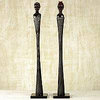 Wood sculptures, 'Love Endurance' (pair) - 2 Complementary Male and Female Carved Sese Wood Sculptures