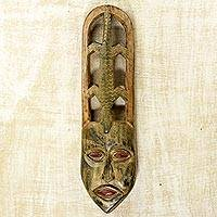 African wood mask, 'Lizard Charm' - Ghanaian Hand Crafted Sese Wood Wall Mask with Lizard Motif
