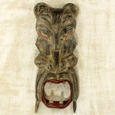 African wood mask, 'Teeth of the Tiger' - Hand Carved Wood African Tiger Mask from Ghana