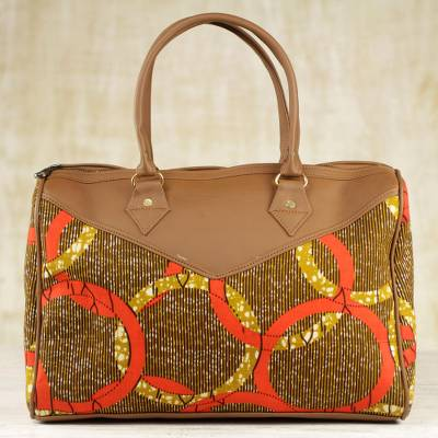 Handle handbag, 'Chain of Unity' - Cotton Handle Handbag with Chain Motifs from Ghana