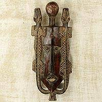African wood mask, 'Twin Lizards' - Artisan Crafted Ghanaian Wood Wall Mask with Lizard Motif