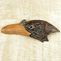Wood wall decor, 'Eagle Profile' - Artisan Crafted Sese Wood Eagle Themed Wall Decor from Ghana