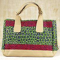 Cotton handbag, 'Selem' - Handmade Cotton Handbag with Synthetic Leather Accent