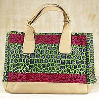Novica Cotton handbag, Exotic Tropic