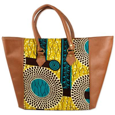 Novica Cotton shoulder bag, Adrinkra Eyes