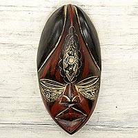African wood mask, 'Mansa' - Hand Crafted Decorative African Wood Mask Mansa