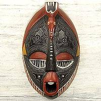 African wood mask, 'The Town Crier'