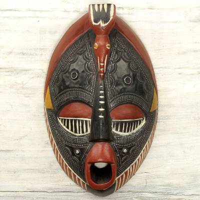 African wood mask, 'The Town Crier' - Aluminum and Sese Wood African Carved Mask of a Town Crier