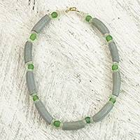 Recycled glass beaded necklace, 'Grey Lagoon' - Grey and Green Recycled Glass Beaded Necklace from Ghana