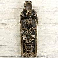 African wood mask, 'Watchful Mother' - Hand Carved Wood Wall Mask Brown Face from Ghana