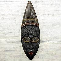 African wood mask, 'With Love' - Handmade Sese Wood and Aluminum Mask from Ghana