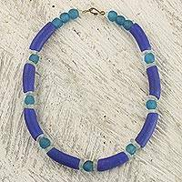Recycled glass beaded necklace, 'Winding River' - Blue Recycled Glass Beaded Necklace from Ghana Jewelry
