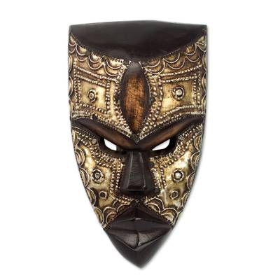 Aluminum and Wood African Mask Textured from Ghana