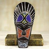 African beaded wood mask, 'Wangari Warrior' - Black African Mask Wood Recycled Glass Beads from Ghana