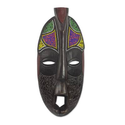 African beaded wood mask, 'Honorable Obileye' - Wood African Mask Aluminum Recycled Glass Bead Accents