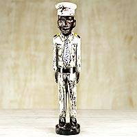 Wood statuette, 'Pilot' - Artisan Crafted Sese Wood Statuette of Pilot from Ghana