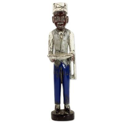 Wood statuette, 'Waiter' - Hand Carved Rustic Wood Waiter Figurine