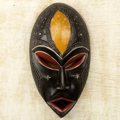 African wood mask, 'Lungile II' - Hand Crafted Sese Wood Wall Mask with Aluminum Accents