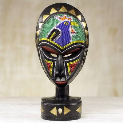 African wood mask, 'Mirembe' - Hand Carved Sese Wood Mask with Glass Bead and Brass Accents