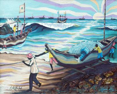 'End of August' - Signed Seascape Painting of African Fishermen at Dawn