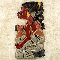 Wood wall relief, 'Twin Mother' - Hand Carved Wood Wall Relief of a Mother from Ghana