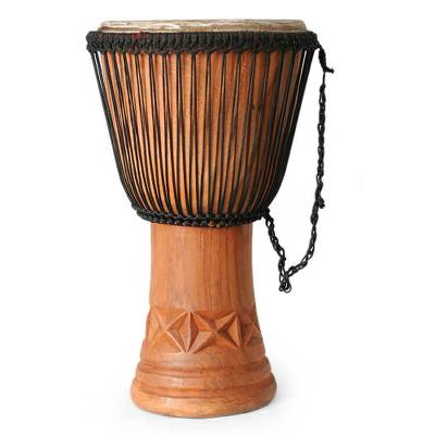 Wood djembe drum, 'Visual Balance' - Wood djembe drum