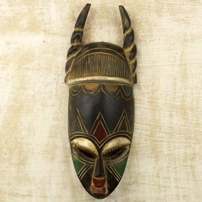 African wood mask, 'Twisted Horn' - Ghanaian Hand Carved Horned Mask in Black and Gold