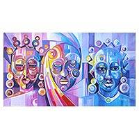 'Beauty Contest' - Multicolored Cubist Painting of People from Ghana