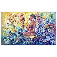 'Where Beauty Lies' - Expressionist Painting of a Woman with Flowers from Ghana