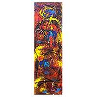 'Encounter' - Multicolored Abstract Acrylic Signed Painting from Ghana