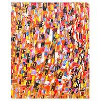'Refined' - Multicolor Abstract Painting Signed Art from Ghana