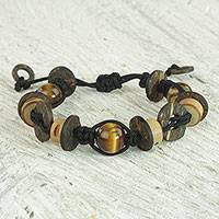 Tiger's eye and wood beaded bracelet, 'Viva' - West African Beaded Bamboo and Coconut Wood Bracelet