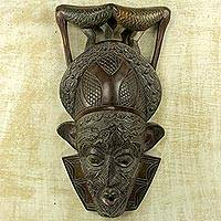 African wood mask, 'Bird Perch' - Ghana Wood Mask Hand Carved with Birds