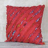 Cotton cushion cover, 'Kekeli Sunrise' - Cotton Cushion Cover in Sunrise and Cornflower Blue