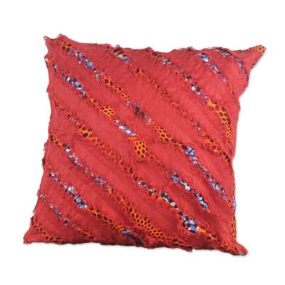 Cotton Cushion Cover in Sunrise and Cornflower Blue