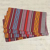 Cotton placemats, 'Striped Edem' (set of 4) - Striped Cotton Placemats (Set of 4) from Ghana