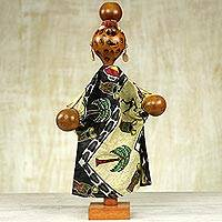 Decorative calabash puppet, 'Musical Gown Wearer' - Hand Made Calabash Decorative Puppet from Ghana