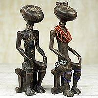 Wood sculptures, 'Ashanti Twins' (pair) - Hand Made Wood Sculptures of Ashanti Twins (Pair)