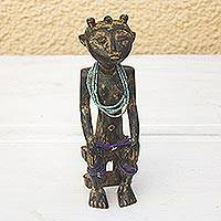 Wood sculpture, 'Ashanti History' - Hand Made Wood Sculpture of Seated Ashanti