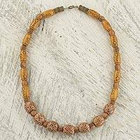 Beaded necklace, 'For God's Love' - Sese Wood and Recycled Plastic Beaded Necklace from Ghana