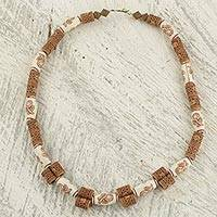 Beaded necklace 'Peaceful Intention' - Peace Theme Sese Wood and Recycled Bead Necklace from Ghana