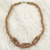 Beaded necklace, 'Strength of Hope' - Recycled Plastic and Sese Wood Bead Necklace from Ghana