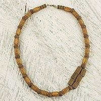 Wood beaded necklace, 'Favor' - Ghanaian Sese Wood and Recycled Beaded Necklace