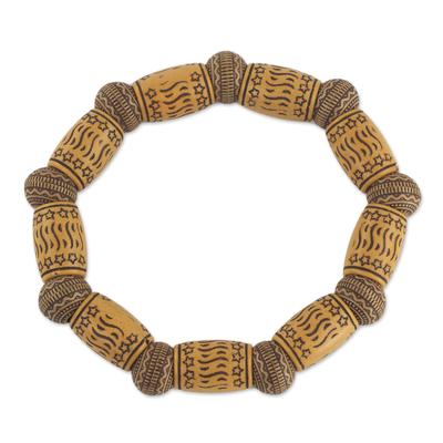 Star Motif Recycled Bead Stretch Bracelet Ghana Jewelry