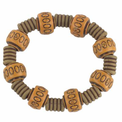 Recycled plastic beaded stretch bracelet,